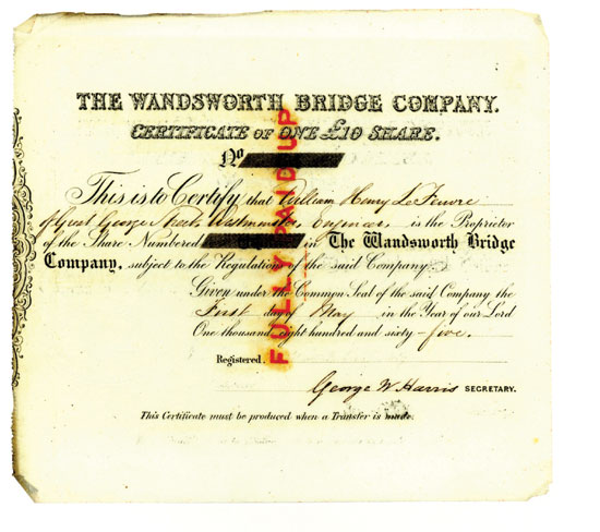 Share Certificate, Wandsworth Bridge